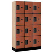 "Salsbury Designer Wood Locker 34355 - Four Tier 3 Wide 12""W x 15""D x 15""H Cherry Unassembled"