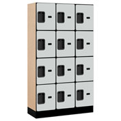 "Salsbury Designer Wood Locker 34355 - Four Tier 3 Wide 12""W x 15""D x 15""H Gray Unassembled"