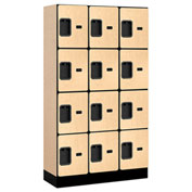 "Salsbury Designer Wood Locker 34355 - Four Tier 3 Wide 12""W x 15""D x 15""H Maple Unassembled"