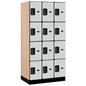 "Salsbury Designer Wood Locker 34361 - Four Tier 3 Wide 12""W x 21""D x 18""H Gray Unassembled"