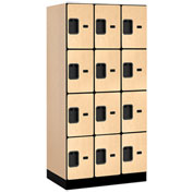 "Salsbury Designer Wood Locker 34361 - Four Tier 3 Wide 12""W x 21""D x 18""H Maple Unassembled"