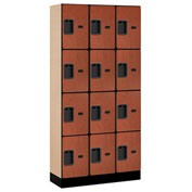 "Salsbury Designer Wood Locker 34365 - Four Tier 3 Wide 12""W x 15""D x 18""H Cherry Unassembled"