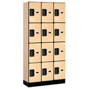 "Salsbury Designer Wood Locker 34365 - Four Tier 3 Wide 12""W x 15""D x 18""H Maple Unassembled"