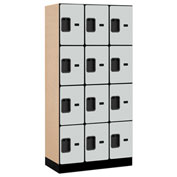 "Salsbury Designer Wood Locker 34368 - Four Tier 3 Wide 12""W x 18""D x 18""H Gray Unassembled"