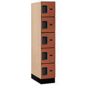 "Salsbury Designer Wood Locker 35151 - Five Tier 1 Wide 12""W x 21""D x 12""H Cherry Assembled"
