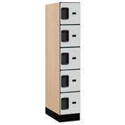 "Salsbury Designer Wood Locker 35151 - Five Tier 1 Wide 12""W x 21""D x 12""H Gray Assembled"