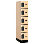 "Salsbury Designer Wood Locker 35151 - Five Tier 1 Wide 12""W x 21""D x 12""H Maple Assembled"