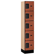 "Salsbury Designer Wood Locker 35155 - Five Tier 1 Wide 12""W x 15""D x 12""H Cherry Assembled"