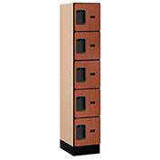 "Salsbury Designer Wood Locker 35158 - Five Tier 1 Wide 12""W x 18""D x 12""H Cherry Assembled"