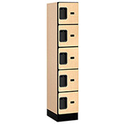 "Salsbury Designer Wood Locker 35158 - Five Tier 1 Wide 12""W x 18""D x 12""H Maple Assembled"