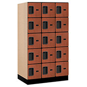 "Salsbury Designer Wood Locker 35351 - Five Tier 3 Wide 12""W x 21""D x 12""H Cherry Unassembled"