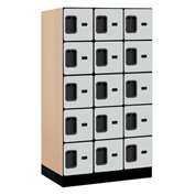 "Salsbury Designer Wood Locker 35351 - Five Tier 3 Wide 12""W x 21""D x 12""H Gray Unassembled"