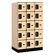 "Salsbury Designer Wood Locker 35351 - Five Tier 3 Wide 12""W x 21""D x 12""H Maple Unassembled"