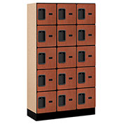 "Salsbury Designer Wood Locker 35355 - Five Tier 3 Wide 12""W x 15""D x 12""H Cherry Unassembled"