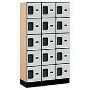 "Salsbury Designer Wood Locker 35355 - Five Tier 3 Wide 12""W x 15""D x 12""H Gray Unassembled"