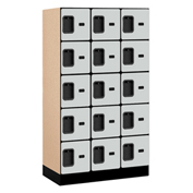 "Salsbury Designer Wood Locker 35358 - Five Tier 3 Wide 12""W x 18""D x 12""H Gray Unassembled"