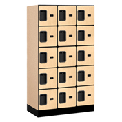 "Salsbury Designer Wood Locker 35358 - Five Tier 3 Wide 12""W x 18""D x 12""H Maple Unassembled"