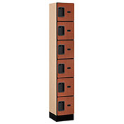 "Salsbury Designer Wood Locker 36165 - Six Tier 1 Wide 12""W x 15""D x 12""H Cherry Assembled"
