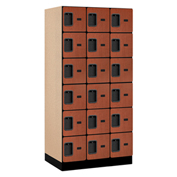 "Salsbury Designer Wood Locker 36361 - Six Tier 3 Wide 12""W x 21""D x 12""H Cherry Unassembled"