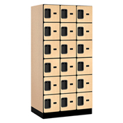 "Salsbury Designer Wood Locker 36361 - Six Tier 3 Wide 12""W x 21""D x 12""H Maple Unassembled"