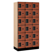 "Salsbury Designer Wood Locker 36368 - Six Tier 3 Wide 12""W x 18""D x 12""H Cherry Unassembled"