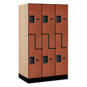 "Salsbury Designer Wood Locker 37351 - Z-Style 3 Wide 12""W x 21""D x 60""H Cherry Unassembled"