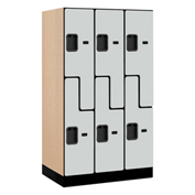 "Salsbury Designer Wood Locker 37351 - Z-Style 3 Wide 12""W x 21""D x 60""H Gray Unassembled"