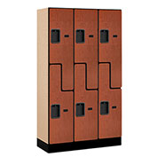 "Salsbury Designer Wood Locker 37355 - Z-Style 3 Wide 12""W x 15""D x 60""H Cherry Unassembled"