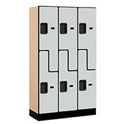 "Salsbury Designer Wood Locker 37355 - Z-Style 3 Wide 12""W x 15""D x 60""H Gray Unassembled"
