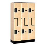 "Salsbury Designer Wood Locker 37355 - Z-Style 3 Wide 12""W x 15""D x 60""H Maple Unassembled"