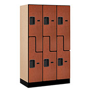 "Salsbury Designer Wood Locker 37358 - Z-Style 3 Wide 12""W x 18""D x 60""H Cherry Unassembled"