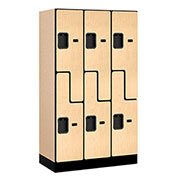 "Salsbury Designer Wood Locker 37358 - Z-Style 3 Wide 12""W x 18""D x 60""H Maple Unassembled"