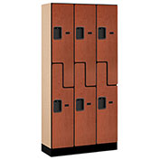 "Salsbury Designer Wood Locker 37365 - Z-Style 3 Wide 12""W x 15""D x 72""H Cherry Unassembled"