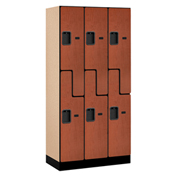 "Salsbury Designer Wood Locker 37368 - Z-Style 3 Wide 12""W x 18""D x 72""H Cherry Unassembled"