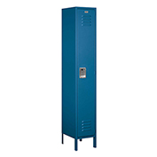 "Salsbury Extra Wide Metal Locker 51165 - Single Tier 1 Wide 15""W x 15""D x 72""H Blue Assembled"