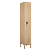 "Salsbury Extra Wide Metal Locker 51165 - Single Tier 1 Wide 15""W x 15""D x 72""H Tan Assembled"