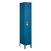 "Salsbury Extra Wide Metal Locker 51168 - Single Tier 1 Wide 15""W x 18""D x 72""H Blue Unassembled"