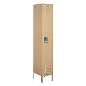 "Salsbury Extra Wide Metal Locker 51168 - Single Tier 1 Wide 15""W x 18""D x 72""H Tan Assembled"