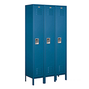 "Salsbury Extra Wide Metal Locker 51365 - Single Tier 3 Wide 15""W x 15""D x 72""H Blue Assembled"