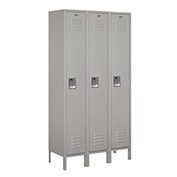 "Salsbury Extra Wide Metal Locker 51365 - Single Tier 3 Wide 15""W x 15""D x 72""H Gray Unassembled"