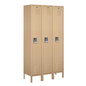 "Salsbury Extra Wide Metal Locker 51365 - Single Tier 3 Wide 15""W x 15""D x 72""H Tan Assembled"