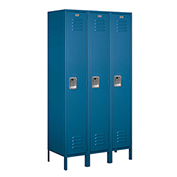 "Salsbury Extra Wide Metal Locker 51368 - Single Tier 3 Wide 15""W x 18""D x 72""H Blue Assembled"