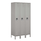 "Salsbury Extra Wide Metal Locker 51368 - Single Tier 3 Wide 15""W x 18""D x 72""H Gray Assembled"