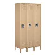"Salsbury Extra Wide Metal Locker 51368 - Single Tier 3 Wide 15""W x 18""D x 72""H Tan Assembled"