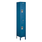 "Salsbury Extra Wide Metal Locker 52165 - Double Tier 1 Wide 15""W x 15""D x 36""H Blue Assembled"