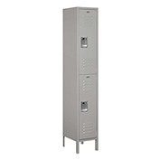 "Salsbury Extra Wide Metal Locker 52165 - Double Tier 1 Wide 15""W x 15""D x 36""H Gray Assembled"