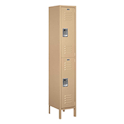 "Salsbury Extra Wide Metal Locker 52165 - Double Tier 1 Wide 15""W x 15""D x 36""H Tan Assembled"