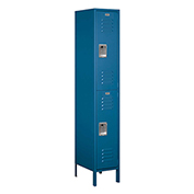 "Salsbury Extra Wide Metal Locker 52168 - Double Tier 1 Wide 15""W x 18""D x 36""H Blue Assembled"