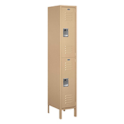"Salsbury Extra Wide Metal Locker 52168 - Double Tier 1 Wide 15""W x 18""D x 36""H Tan Assembled"