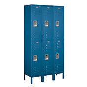 "Salsbury Extra Wide Metal Locker 52365 - Double Tier 3 Wide 15""W x 15""D x 36""H Blue Assembled"